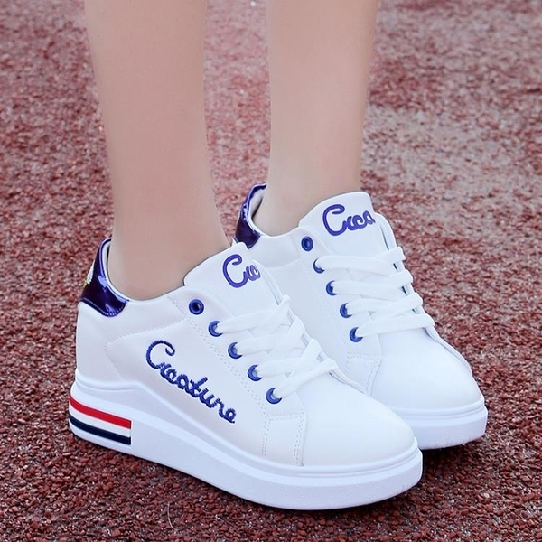 增高鞋 新款春季韓版小白鞋女百搭休閒鞋zipper鞋軟妹學生內增高鞋子