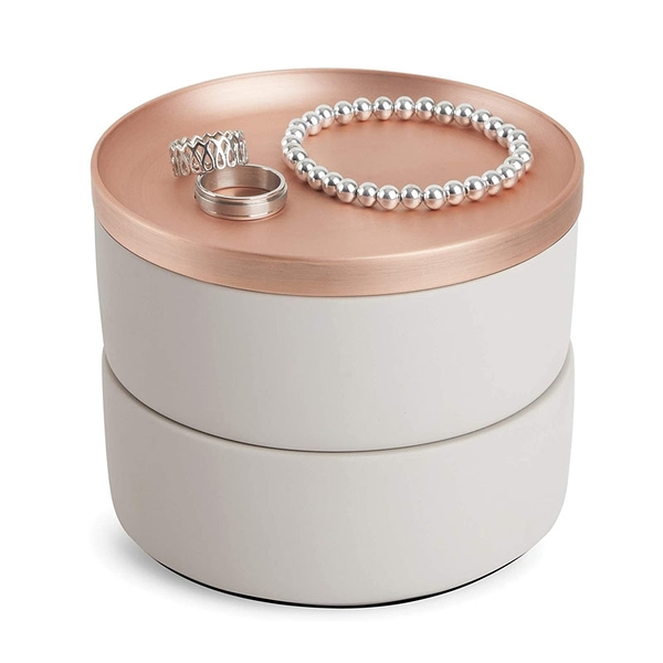 [2美國直購] Umbra 珠寶盒 Tesora Jewelry Box, Two-Tier Resin Storage Container with Removable Lid, Concrete/Copper