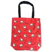 小禮堂 Hello Kitty 直式帆布側背袋 帆布托特包 手提袋 書袋 帆布袋 (紅 牛年開運) 4550337-14177