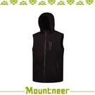 【Mountneer 山林 男輕量防風SOFT SHELL背心《黑》】32V01/保暖背心/休閒背心/連帽背心