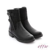 effie 個性美型 防潑水麂皮扣帶拉鍊中筒靴 黑