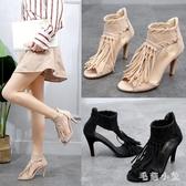 涼鞋女夏2020新款中跟流蘇交叉綁帶高跟鞋細跟魚嘴鞋歐美夏季女鞋 EY10239『毛菇小象』