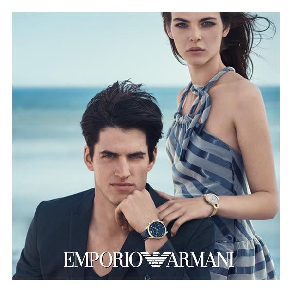 Emporio Armani 亞曼尼 Classic 都會新貴計時手錶-綠x咖啡/43mm AR2493