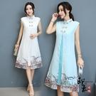 春秋復古假兩件淑女中長款改良式旗袍2020連身裙民族風洋裝‧復古‧衣櫥