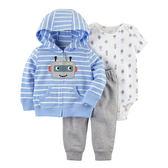 Carter's平行輸入童裝 男寶寶 連帽薄外套&短袖包屁衣&居家長褲 藍機器人【CA121I201】