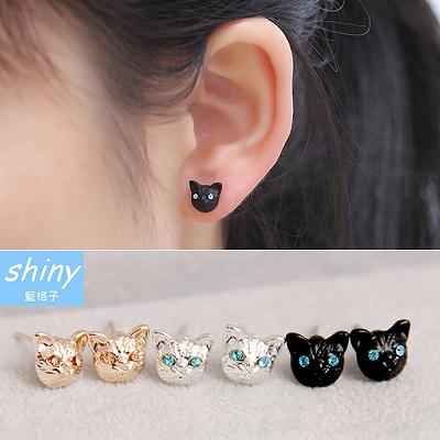 【30A63】shiny藍格子-精緻小巧‧逼真耀眼可愛貓咪水鑽耳環