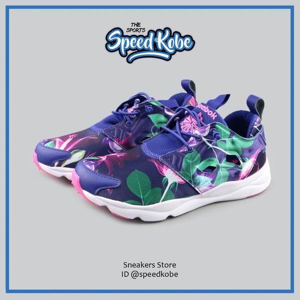 REEBOK 復古慢跑鞋 Furylite 紫綠 牽牛花 花朵 女 AQ9837【SP】