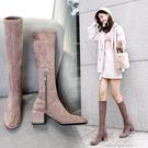 長靴長靴女不過膝秋冬新款高跟長筒靴子女靴粗跟高筒靴瘦腿彈力靴 快速出貨