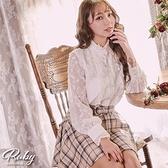 上衣 露比設計‧宮廷風荷葉立領長袖上衣-Ruby s 露比午茶