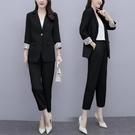 適合胖人穿的大碼女裝2021春新款西裝外套顯瘦九分褲兩件套裝女潮 依凡卡時尚