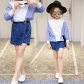 女童裙褲 新款韓版時尚褲子夏假兩件牛仔短裙褲靴褲短褲   伊鞋本鋪