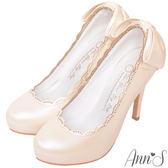 Ann'S日系甜美姿態-蕾絲滾邊後跟大蝴蝶細跟高跟鞋-粉