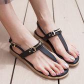 涼鞋.MIT氣質金屬扣鐶夾腳涼鞋.白鳥麗子