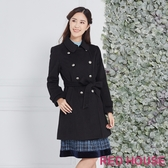 【RED HOUSE 蕾赫斯】雙排釦羊毛混紡大衣(黑色)