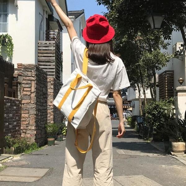後背包書包女校園小清新帆布後背包女好康推薦正韓學生森系方款百搭背包