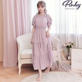 洋裝 一字領泡泡袖縮腰五分袖長洋裝-Ruby s 露比午茶