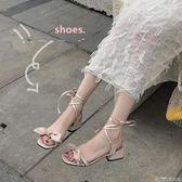 涼鞋女夏仙女中跟復古性感氣質優雅學生一字帶小清新少女高跟   歌莉婭