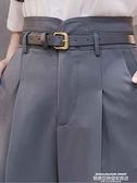花苞褲 藍色西裝褲女春夏花苞高腰小直筒九分西褲寬鬆蘿卜煙管褲哈倫褲薄 夏季新品