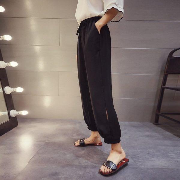 FINDSENSE G5 韓國時尚 純色 鬆緊 高腰 束腳 闊腿褲  寬鬆 九分褲 休閒褲