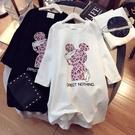 短袖t恤女中長款韓版慵懶風寬鬆休閒潮ins純棉上衣半袖白色體恤女【快速出貨】