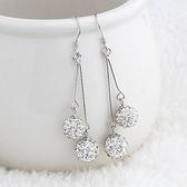 耳環 925純銀鑲鑽銀飾-大方流蘇生日情人節禮物女飾品73dy16【時尚巴黎】