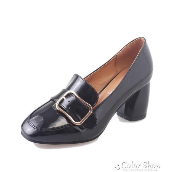 黑色小皮鞋女新款高跟粗跟單鞋中跟方頭復古一腳蹬樂福鞋 color shop