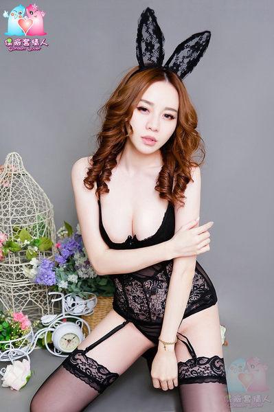 【愛愛雲端】黑蕾絲鋼圈魚骨網紗爆乳性感吊帶馬甲睡衣 R3Y16007