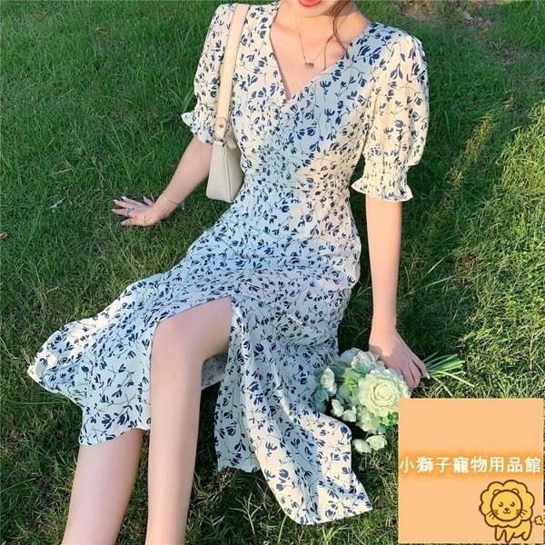 夏季顯瘦溫柔風長裙子碎花雪紡短袖連身裙女裝【小狮子】