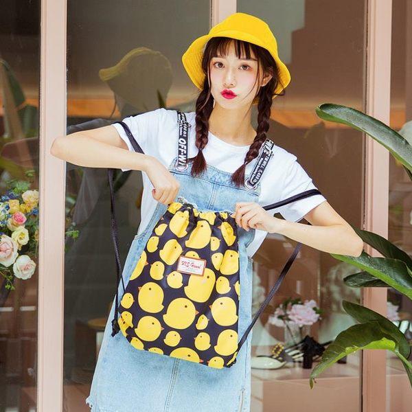 束口袋 HKS-HOMME韓國抽繩雙肩包帆布旅行背包仙女包文藝束口袋學生書包【韓國時尚週】