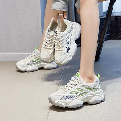 真皮手工女鞋 系帶老爹鞋 休閒厚底運動鞋/2色-夢想家-標準碼-0401
