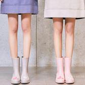 雨鞋 時尚款外穿雨鞋女成人加絨中筒保暖水鞋韓國可愛雨靴防滑膠鞋冬【快速出貨】