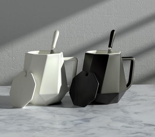 馬克杯 個性馬克杯帶蓋勺北歐創意辦公室牛奶陶瓷水杯女潮流家用咖啡杯子【快速出貨八折優惠】