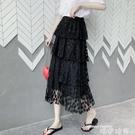 2020年新款蕾絲網紗半身裙女夏季薄款中長款裙子蛋糕裙高腰a字裙 唯伊時尚