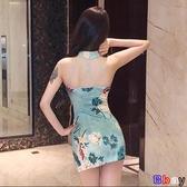 【貝貝】夏裝裙子韓版復古氣質露背年輕短款少女小香風連身裙旗袍