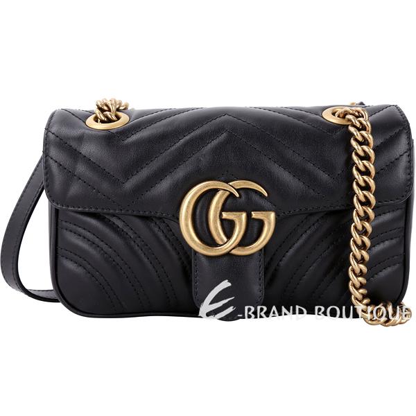 GUCCI GG Marmont 山型絎縫皮革雙鍊肩背包(黑色) 1740342-01