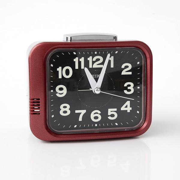 SEIKO日本精工簡約紅黑框夜光指針鬧鐘 柒彩年代【NV44】原廠公司貨