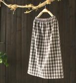 軟糯舒適格紋鬆緊腰呢子中長裙寬鬆毛呢裙/設計家Q2680