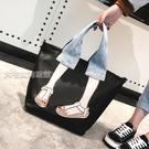 單肩包大包包女新款韓版時尚百搭個性刺繡手提包尼龍休閒單肩斜挎包 快速出貨