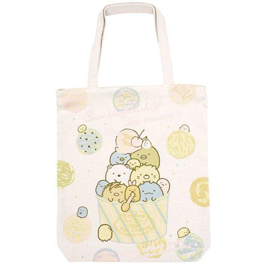 〔小禮堂〕角落生物 帆布直式側背袋《米.冰淇淋》肩背袋.購物袋.書袋 4949827-80561
