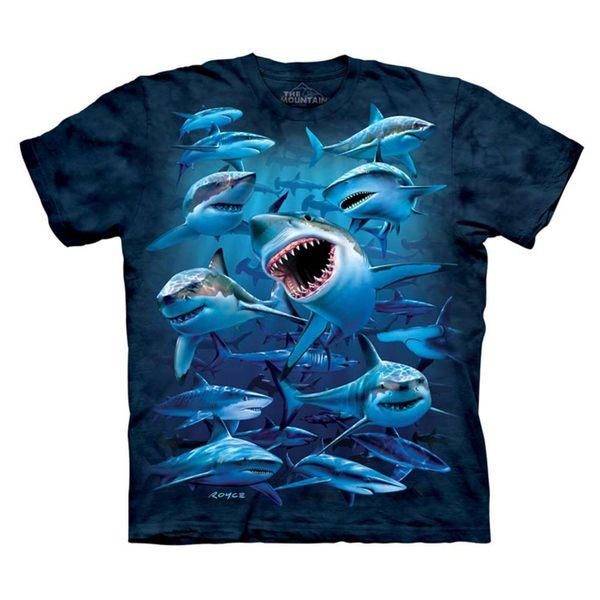 【摩達客】(預購)(男童/女童裝)美國進口The Mountain  深海群鯊 純棉環保短袖T恤(10416045071a)
