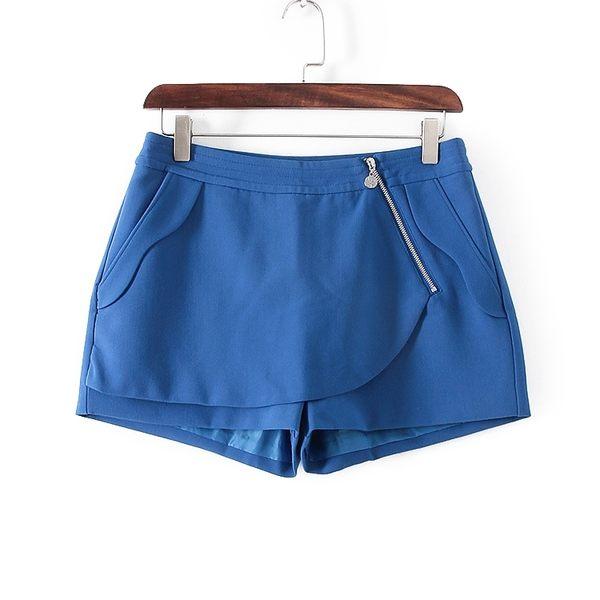 [超豐國際]面春夏裝女裝藍色純色西短百搭短褲 32018(1入)