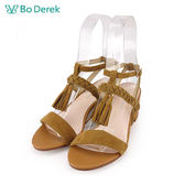 【Bo Derek 】編織流蘇繫踝高跟涼鞋-駝色