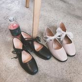 方頭淺口低跟平底鞋蝴蝶結芭蕾鞋復古皮鞋