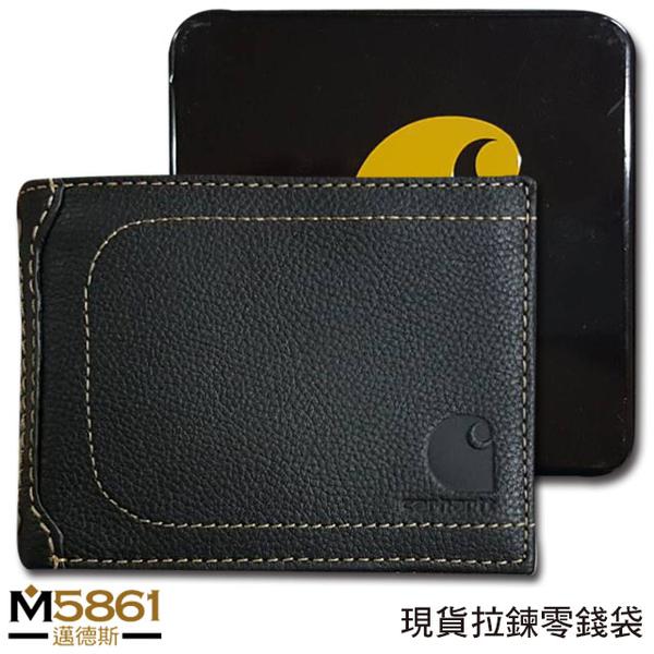 【Carhartt】男皮夾 短夾 牛皮夾 拉鍊零錢袋 獨立卡夾 大鈔夾 經典鐵盒裝/黑色
