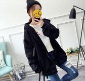 休閒外套女秋裝潮加絨加厚連帽衛衣冬韓版學生寬鬆bf ulzzang 法布蕾輕時尚