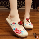 簡約中式帆布繡花鞋民族風搭扣鏤空涼拖牛筋軟底布藝拖鞋女單鞋