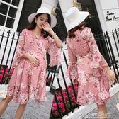 孕婦夏裝新款韓版時尚潮媽上衣夏季中長款碎花雪紡孕婦洋裝color shop