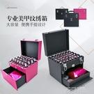 化妝箱專業手提美容工具箱多功能美甲紋繡箱子大號彩妝跟妝收納箱MBS 依凡卡時尚