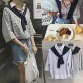 (全館一件免運)DE SHOP~(TT-1510)條紋中袖棉麻襯衫休閒披肩五分袖襯衫