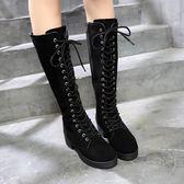 膝上靴新款女靴子歐美英倫時尚長靴高跟騎士靴女系帶鉚釘粗跟長筒靴 小明同學